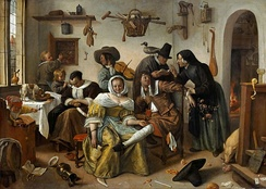 A typical Jan Steen picture (c. 1663); while the housewife sleeps, the household play.[37]