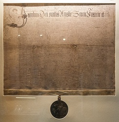 "Charter of James I from 1609 which raised Kilkenny to a city with a mayor who is ""to have a sword carried before him or them within the said city, and the county of the said city, at their will and pleasure, in such manner and form as is used in any other city or cities before any Mayor or Mayors within the said Kingdom of Ireland.""[13][14]"
