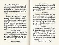 Разворот факсимильного издания Ouverture de cuisine