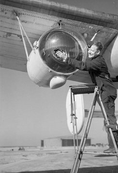 Anti-Submarine Weapons: Leigh light used for spotting U-boats on the surface at night, fitted to a Liberator aircraft of Royal Air Force Coastal Command. 26 February 1944.