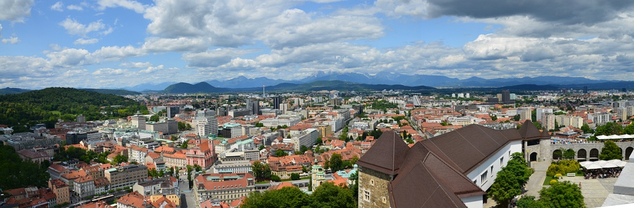 View to the north from Ljubljana Castle with the Karawanks (left), Mount Saint Mary (center), and Kamnik–Savinja Alps (right) in the background