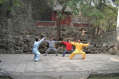 Tai chi (Taijiquan) practitioners at the Fragrant Hills Park