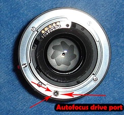 Rear view of Minolta AF lens showing the port for the external autofocus drive