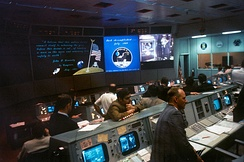 Mission Operations Control Room 2 at the conclusion of Apollo 11 in 1969
