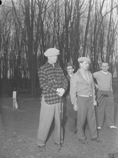 Playing golf (in plaid) in 1948 in Montreal