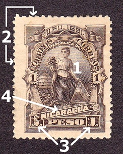 The main components of a stamp: 1. Image 2. Perforations 3. Denomination 4. Country name