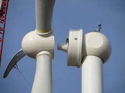 One Energy in Findlay, OH assembles one of their permanent magnet direct-drive wind turbines.