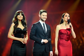 Presenters of the Eurovision Song Contest 2012, from left to right – Leyla Aliyeva, Eldar Gasimov and Nargiz Birk-Petersen