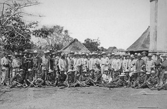 Spanish infantry troops and officers in Manila
