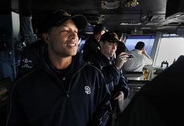 Roberts observes flight operations from the primary flight control tower on board USS Carl Vinson (CVN-70) in December 2010