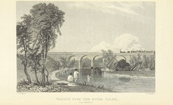 The new railway line opened in 1837 approached Watford over the River Colne on a viaduct (Thomas Roscoe, 1839)