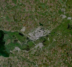 Rostov (in center) and vicinities: Bataysk to the south, Azov to the south-west, Chaltyr village to the north-west, Novocherkassk to the northeast (satellite image by Landsat-5, 2010-06-10)