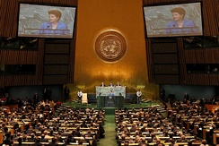 Brazilian President Dilma Rousseff delivers the opening speech at the 66th Session of the General Assembly on 21 September 2011, marking the first time a woman opened a United Nations session.[25]