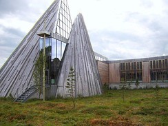 The lavvu inspired shape of the Sámi Parliament building in Kárášjohka (Karasjok), Norway in 2005.