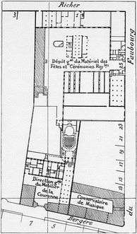 Site plan (1836) of the Menus-Plaisirs, the Concert Hall, and the Conservatoire
