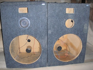 MTX Audio loudspeaker enclosures (with rear panel reflex port tubes) which can mount 15 inch woofers, mid-range drivers and horn and/or compression tweeters. In this photo, only one driver is mounted.