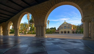 Stanford Quad with Memorial Church in the background