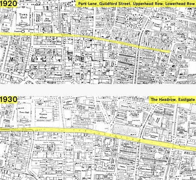 A section of the Ordnance Survey map of central Leeds of before and after the Headrow's creation, highlighting its route