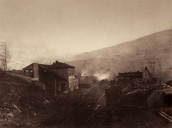 Train station with train and coal depot by Gustave Le Gray, 1850s to 1860s