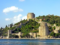 Roumeli Hissar Castle, built by Sultan Mehmed II between 1451 and 1452, before the Fall of Constantinople[3]