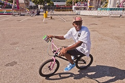 Okonma on his pink BMX in September 2012