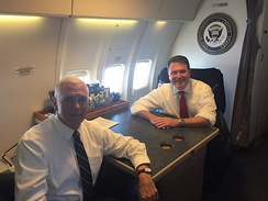 Congressman Rokita sits with Vice President Mike Pence on Air Force 2.