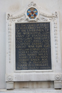 War Memorial to London's liverymen lost in WW1 (on Stationers Hall, west of Paternoster Square)