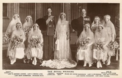 Elizabeth (back row second from left) as a bridesmaid at the wedding of Princess Mary and Viscount Lascelles, 1922