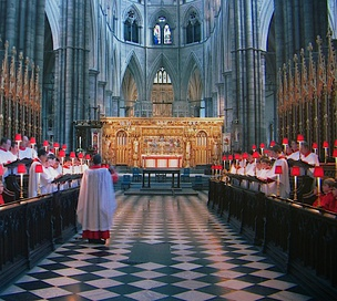 Evening prayer often takes the form of Choral Evensong, such as this service at Westminster Abbey.
