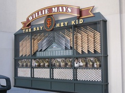 Willie Mays tribute display at Oracle Park in San Francisco, California