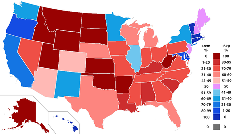 Percentage of members from each party by state, ranging from dark blue (most Democratic) to dark red (most Republican).