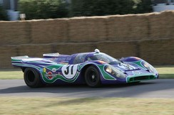 "The Martini Racing blue and green ""psychedelic"" livery on a 1970 917K. This car raced at Watkins Glen in 1970."