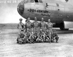 "40th Bombardment Group Boeing B-29-5-BW Superfortress 42-6281 ""20th Century Unlimited"" at Hsinching Airfield (A-1), China, advanced China Base of the 40th Bomb Group after completion of a raid on Anshan, Manchuria. Mission #4, 29 July 1944"