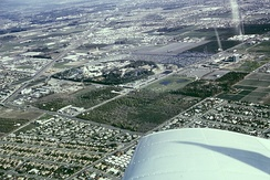 Aerial view of Anaheim and Disneyland in 1965
