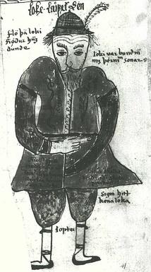 Изображение Локи со страниц древнеисландского манускрипта Edda Oblongata (1680)