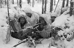 Finnish machine gun nest aimed at Soviet Red Army positions during the Winter War, February 1940