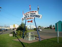 A monument at the southern terminus of the Alaska Highway (Dawson Creek)