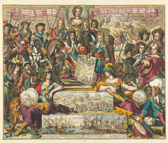Allegory of the victory of the Grand Alliance at Schellenberg in 1704. The bust of Queen Anne at the top is surrounded by Allied leaders.