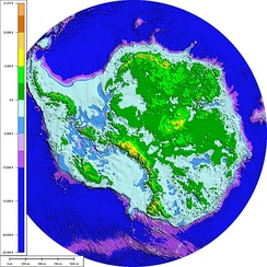 Subglacial topography and bathymetry of bedrock underlying Antarctica ice sheet