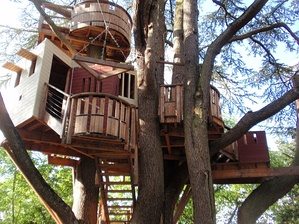 A tree house in the park of the Château de Langeais in the Loire Valley, France