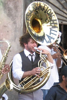 Jaffe playing sousaphone with the Preservation Hall Jazz Band, 2007