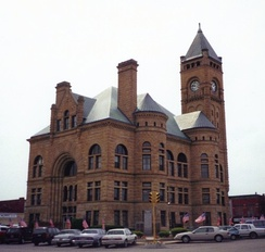 The Blackford County courthouse is at the center of Hartford City's town square.