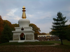 On the grounds of Tibetan Mongolian Buddhist Cultural Center, Bloomington, Indiana