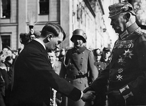 Paul von Hindenburg and Adolf Hitler presided over the abolition of German democracy in 1933