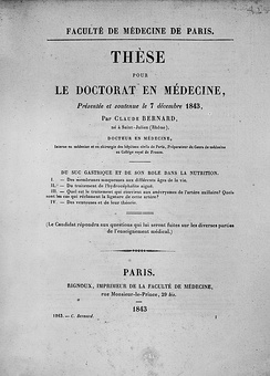 The cover of the thesis presented by Claude Bernard to obtain his Doctorate of Medicine (1843).