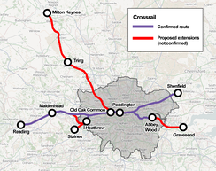 Possible Crossrail extensions as recommended in the 2011 RUS[146]