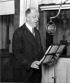 """Doc"" Herrold at the KQW microphone, early 1920s."