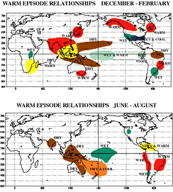 Regional impacts of warm ENSO episodes (El Niño)