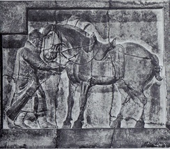 A bas-relief of a soldier and horse with saddle and stirrups, from the tomb of Chinese Emperor Taizong of Tang (r 626–649), c 650