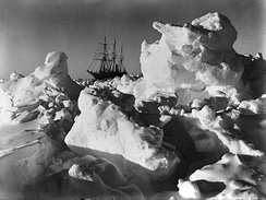 Frank Hurley, As time wore on it became more and more evident that the ship was doomed (Endurance trapped in pack ice), National Library of Australia.